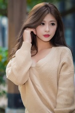 Preview iPhone wallpaper Young Asian girl, street