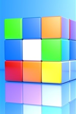 Preview iPhone wallpaper 3D cube, colorful colors