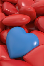 Preview iPhone wallpaper 3D love hearts, many red and one blue