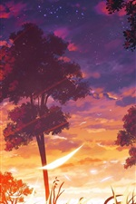 Preview iPhone wallpaper Anime, trees, sunset, clouds, nature landscape