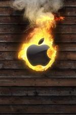 Apple brennt, Holzbrett Hintergrund