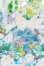 Preview iPhone wallpaper Art drawing, birds, flowers