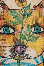 Preview iPhone wallpaper Art drawing, cat, flower, wall