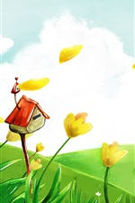 Preview iPhone wallpaper Art drawing, flowers, house, green, trees, spring