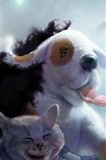 Preview iPhone wallpaper Art watercolors, panda, sheep, cat