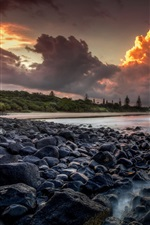 Preview iPhone wallpaper Australia, sea, coast, stones, trees, clouds, sunset