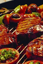 Barbecue, meat, food