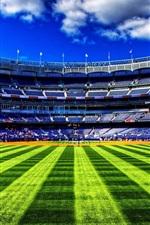 Preview iPhone wallpaper Baseball field, green grass, sky, clouds