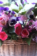 Preview iPhone wallpaper Basket, many kinds flowers