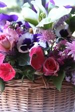 Basket, many kinds flowers