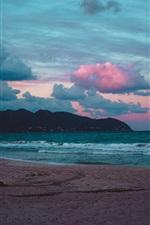 Beach, sea, waves, clouds, evening