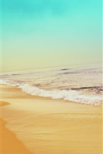 Preview iPhone wallpaper Beach, sea, waves, foam, sky