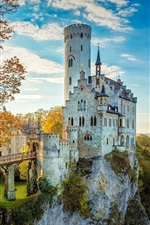 Preview iPhone wallpaper Beautiful castle, trees, mountains, sunrise, autumn