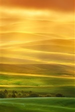 Preview iPhone wallpaper Beautiful landscape, hills, fields, green, sun rays, fog, morning