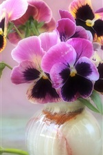 Preview iPhone wallpaper Beautiful pansies, vase, flowers close-up