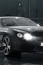 Preview iPhone wallpaper Bentley Continental GT black car, after rain, water drops