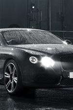 Preview iPhone wallpaper Bentley Continental GT black car, after rain, water drops