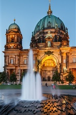 Preview iPhone wallpaper Berlin Cathedral, architecture, Germany, night, fountain