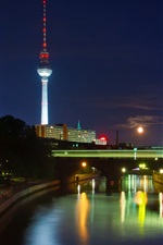 Preview iPhone wallpaper Berlin, Germany, city, night, river, tower, lights