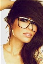 Preview iPhone wallpaper Black hair girl, glasses