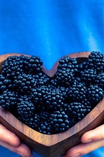 Preview iPhone wallpaper Blackberries, love heart, hands