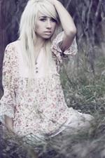 Preview iPhone wallpaper Blonde girl, forest, grass, bokeh