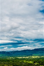 Preview iPhone wallpaper Blue sky, valley, trees, clouds