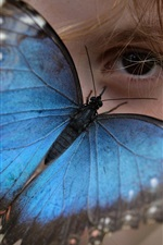 Preview iPhone wallpaper Blue wings butterfly, girl eyes