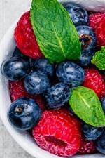 Preview iPhone wallpaper Blueberries, raspberries, mint, cup, fruit