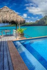Preview iPhone wallpaper Bora Bora island, France, resort, pool, sea