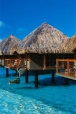 Preview iPhone wallpaper Bora Bora island, French, vacation, huts, sea