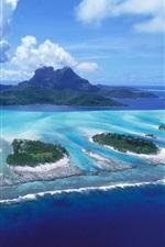 Preview iPhone wallpaper Bora Bora island, blue sea, clouds, French