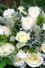 Preview iPhone wallpaper Bouquet, white roses, decoration