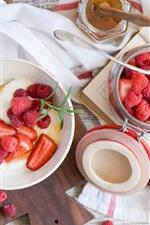Preview iPhone wallpaper Breakfast, strawberry, raspberry, dessert