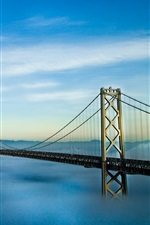 Preview iPhone wallpaper Bridge, fog, blue sky