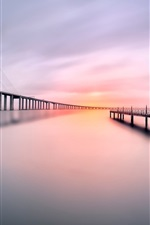 Bridge, pier, river, morning, calm water