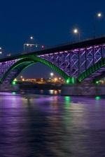 Preview iPhone wallpaper Bridge, river, night