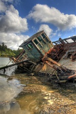 Preview iPhone wallpaper Broken boat, river
