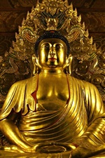 Preview iPhone wallpaper Buddha statue, gold, temple