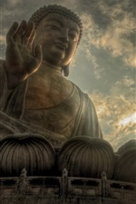 Preview iPhone wallpaper Buddha statue, sky, clouds