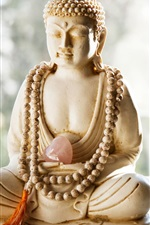 Preview iPhone wallpaper Buddha statue, stone, heart