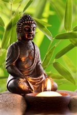Preview iPhone wallpaper Buddha statue, stones, water, bamboo leaves, candle