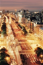 Preview iPhone wallpaper Buenos Aires, Argentina, city night, buildings, roads, cars, lights