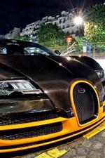 Bugatti Veyron supercar front view, street, night