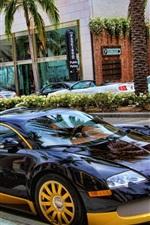 Bugatti Veyron supercar stop at city street