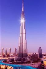 Burj Khalifa Tower, skyscrapers, Dubai, UAE, blue sky