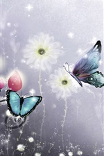 Butterfly and flowers, art picture