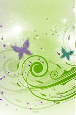 Preview iPhone wallpaper Butterfly, green leaves, abstract design