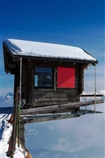Preview iPhone wallpaper Cabin, mountain top, snow, fog