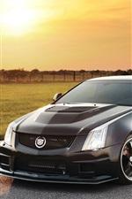 Vorschau des iPhone Hintergrundbilder Cadillac schwarzes Auto bei Sonnenuntergang